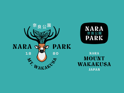 Nara Park Deer japanese logo park nara park japan deer logo spider web spider deer texture badge design typography branding flat design badge vector flat illustration