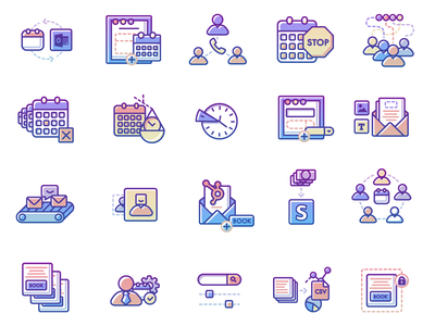 Appointment Icons Set. lock csv cogwheel dollar money letter email clock scales stop user calendar