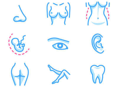 Body parts -- icons for medical clinic eye belly breasts nose pregnancy fetus legs tooth body