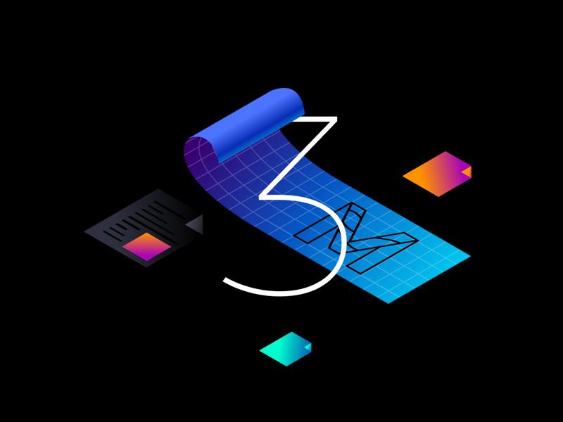 Blueprint icon illustration icon 3d grid file typgraphy blueprint isometric