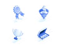 Isometric icon set attach