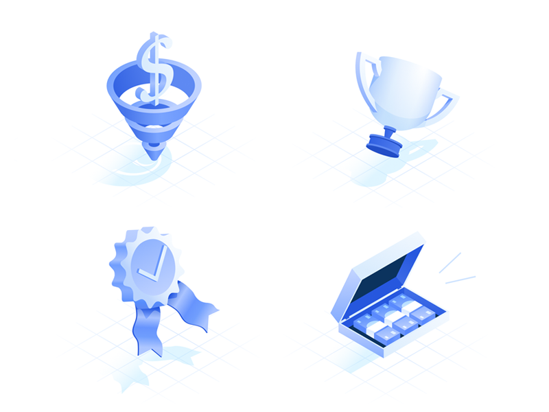 Isometric icon set 3d vector shadow cup award money funnel dollar icon set grid isometric