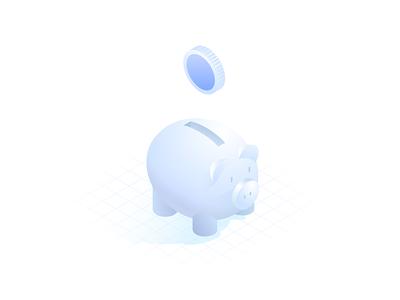 piggy bank isometric illustration