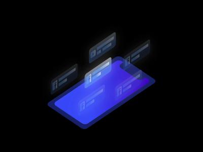 Notifications Isometric Illustration Animation