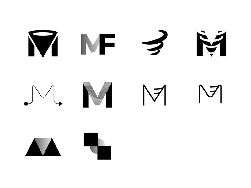 Logo M + funnel exploration exploration concept letter sign funnel m logo