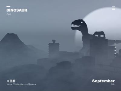 The dinosaurs came back to life c4d 3d atmosphere smoke light city dinosaurs design apple ux macbook mac ui