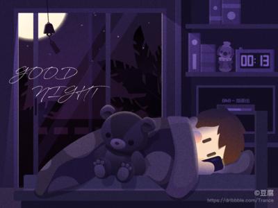 Good night everyone~🌛✨✨ sweet night phone sleep bear light illustration ux finder design apple macbook ui