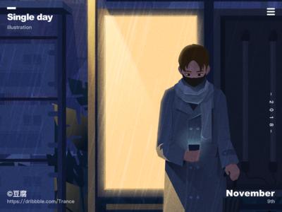 Bachelor's Day night light rain lonely single macbook ui mac design finder ux illustration