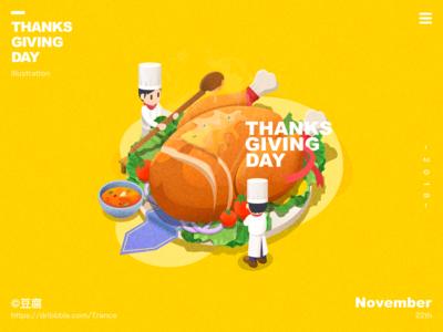 Happy Thanksgiving Day!~ 2.5d turkey ui mac apple blur icon light finder ux illustration design macbook thanksgiving