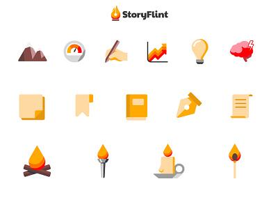 StoryFlint - Icon Development vector web design art direction illustrator graphic design icon set icon design icons icon iconography branding design branding