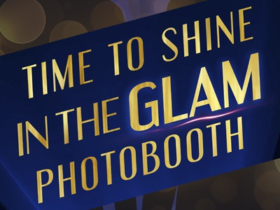 Photo Booth Banner box memory brand lighting shine glam photo booth gold blue print