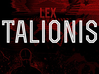 Book Cover Slice for Lex Talionis jacket book line work typographic robbins derrick mono black red war nealen peter