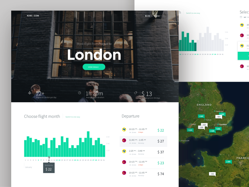 Inspirasi #30 - UI / UX Design Flight Web & App