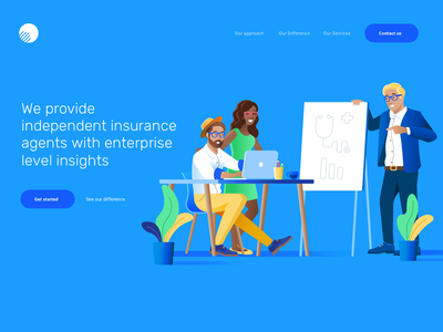 Homepage Illustration For Abs blue people white website web ux ui insurance illustration homepage healthcare clean