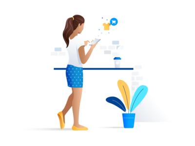 Illustration For Basekit coffe plants white girl woman illustration clean blue