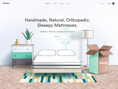 The Composition Sketch website web pillow mattress green white e-commerce illustration sketch