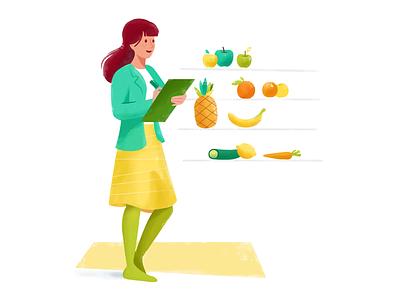 Nutritionist   Illustration For Vittle Nr. 3 website ux ui woman nutritionist green illustration delivery food eat