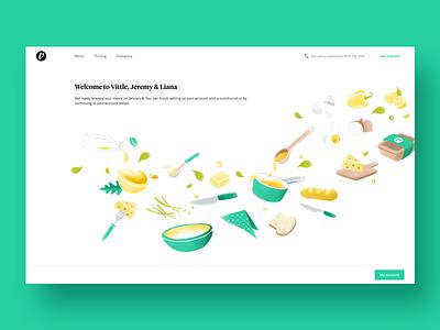 Illustration For Vittle woman website ux ui cook illustration green food eat delivery