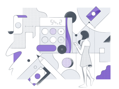 Finance Illustration benday dots working work white woman illustration character finance purple architecture