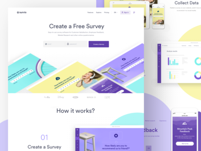 Survio Surveys   Work In Progress turquoise purple yellow website web ui ux survey clean