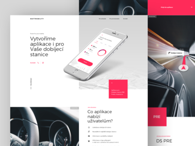 Charging App Microsite electric car charging station ux ui red website web clean charging car