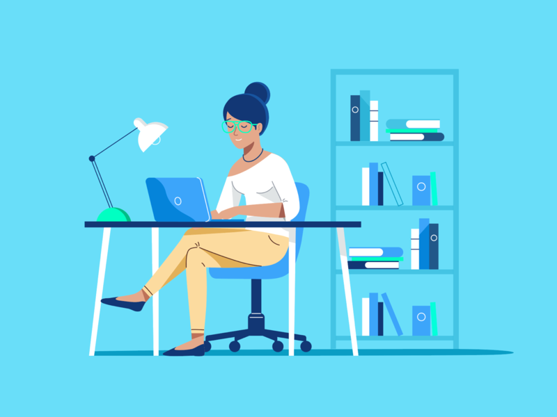 Student At Desk chair bookshelf minimalistic desk woman web website clean illustration blue