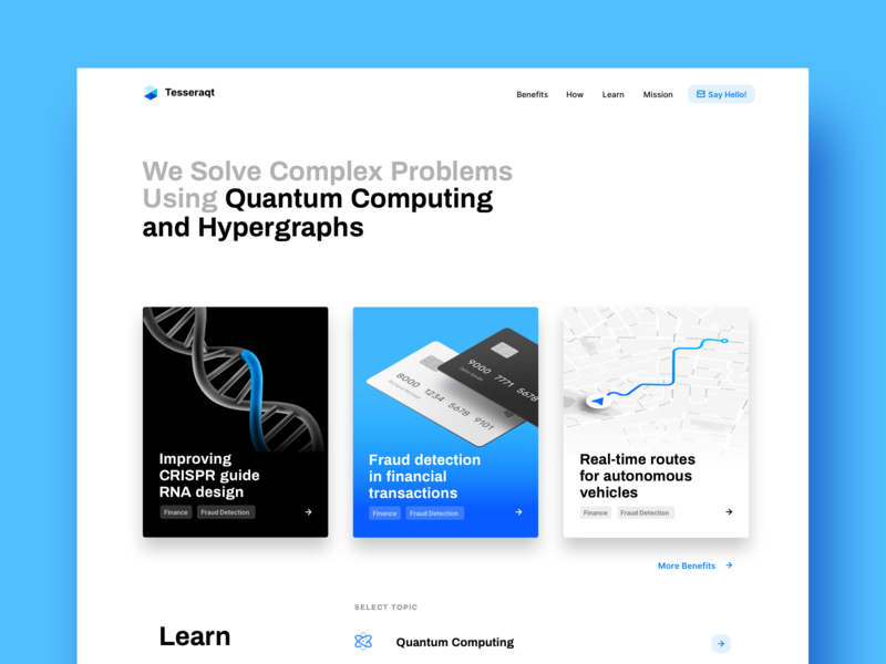 Quantum Computing Startup Hp white blue clean ux uidesign computing quantum website web