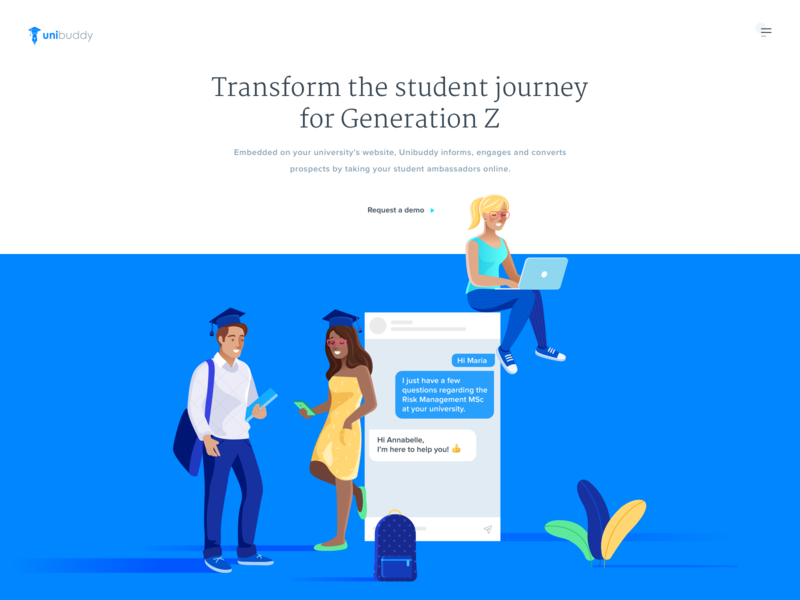 Unibuddy Homepage school student blue white ui ux web website clean illustration