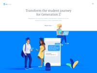 Unibuddy Homepage school student blue white ui ux web website clean illustration