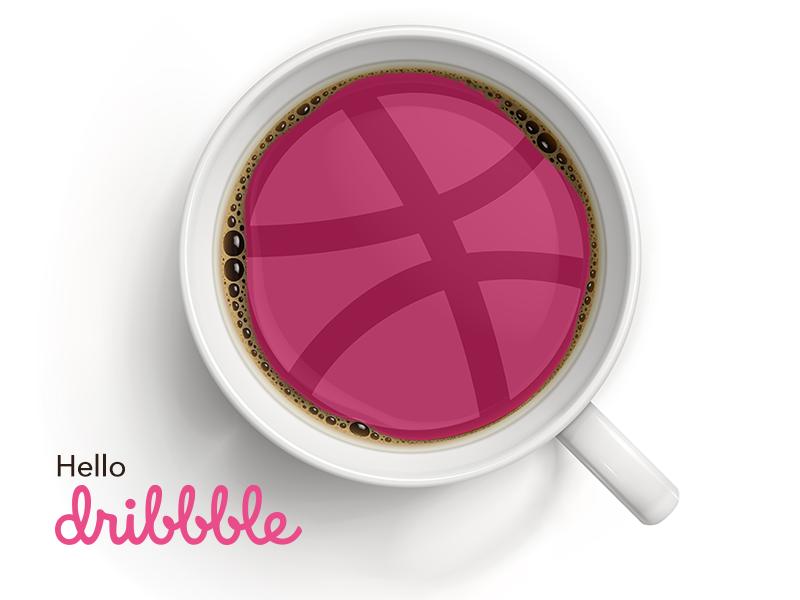 Hello Dribbble! shot good morning mock up first shot caffeine design morning thanks coffee firstshot debut