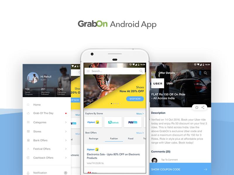 GrabOn Mobile App ui ux app design mobile app shopping ecomm android offers app coupons grabon