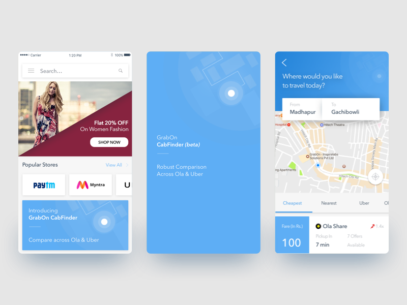 GrabOn | Cab Finder app design cab booking deals offers coupons uiux ecommerce ux ui cab app grabon