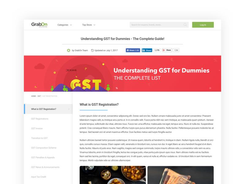GrabOn   GST: Goods & Service Tax   Landing Page ecomm ux uiux ui savings offers coupons tax goods service tax gst grabon