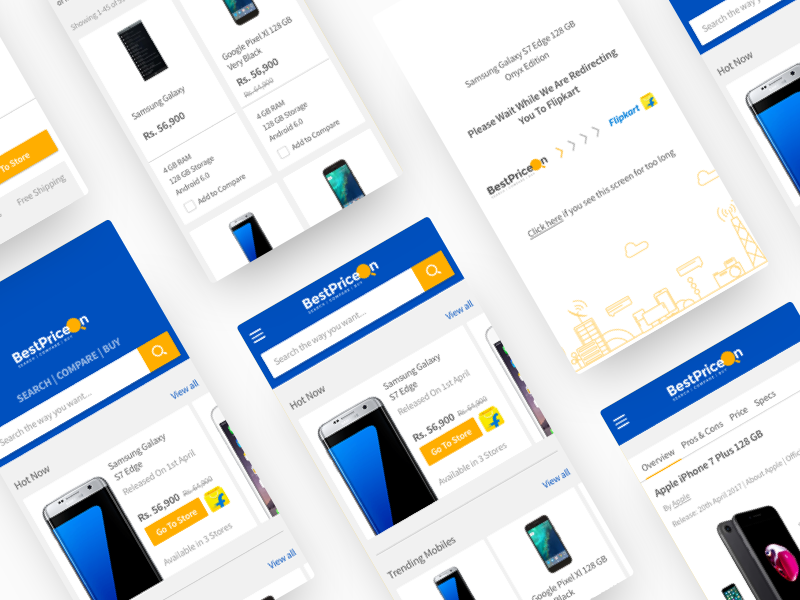 BestPriceOn | Mobile Web bestpriceon ui ux shopping compare deals ecommerce price card design ecomm branding