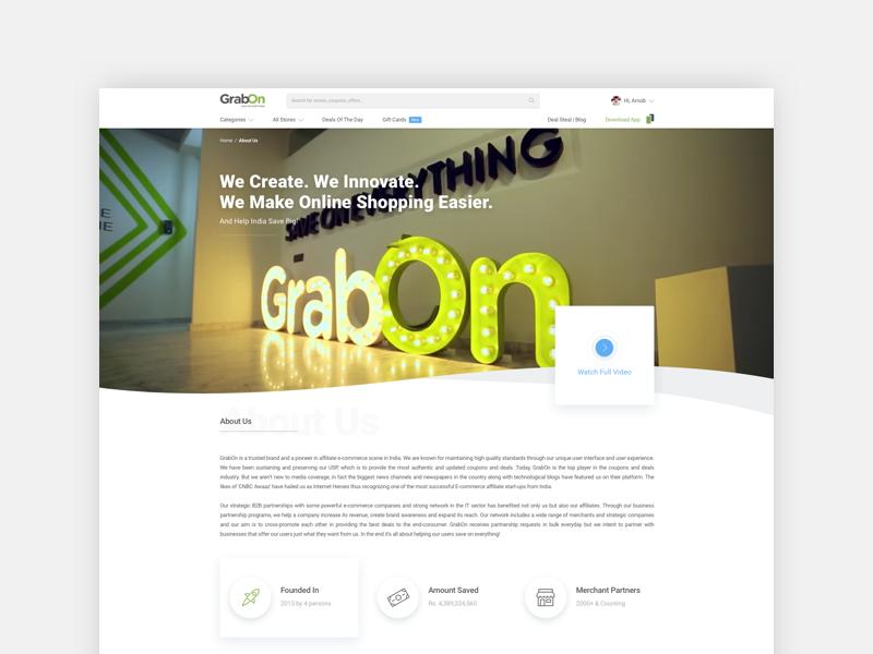 GrabOn   About Us web design about us website shopping offers design grabon ecomm deals coupons
