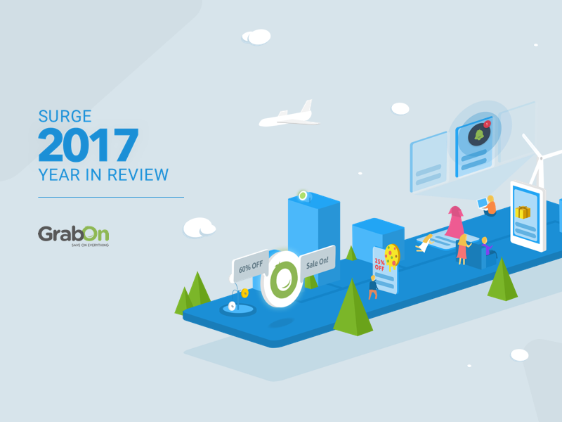 GrabOn 2017 Year in Review | Surge 2017 offers coupons ux ui timeline review responsive grabon gradients end of year cards 2017