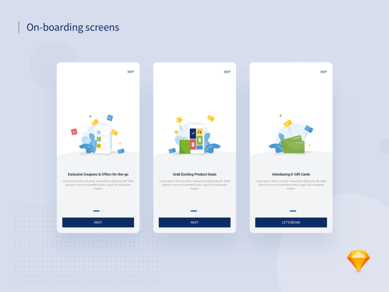 App On-boarding Screens app mobile app flat illustration giftcard deals ecommerce vector illustration ux ui ui ux app design shopping offers coupons