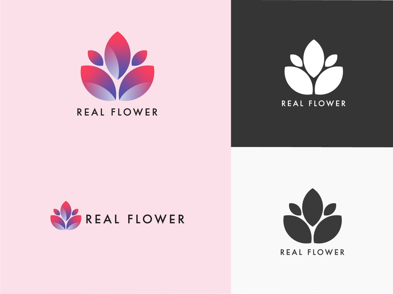 Real Flower fictional simple logotype green illustrator vector flower logo design logo