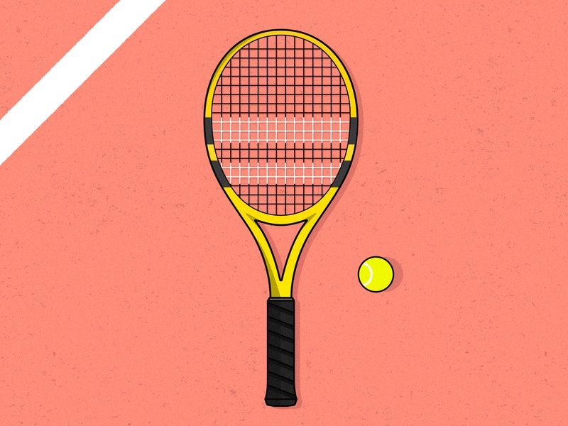 Court Life illustration vector illustator racket yellow red sport court tennis