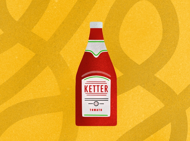 Ketter yellow bottle procreate red tomato food ketchup