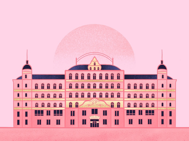 TGBH procreate building pink hotels hotel the grand budapest hotel