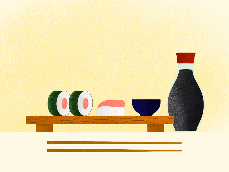 Sushi procreate fish food chopsticks soy sushi