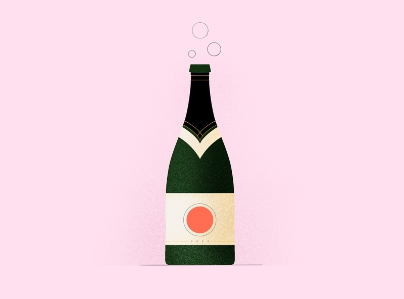 POP pink 2020 procreate wine bottle party champagne