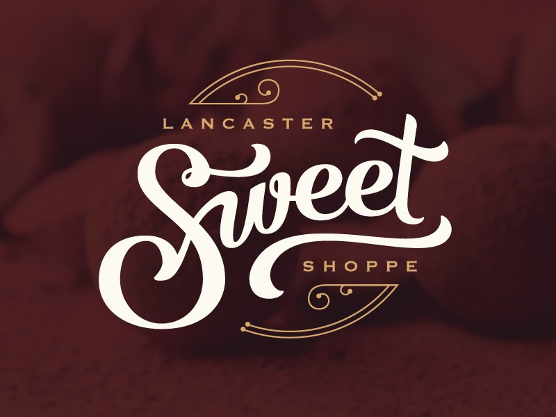 Lancaster Sweet Shoppe illustration mark identity shop sweet script branding chocolate candy logo