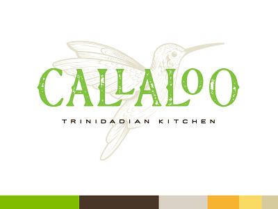 Callaloo Trinidadian Kitchen typography humming bird restaurant mark logo illustration identity branding
