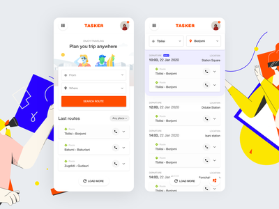 Tasker travel travel application booking map transports color app concept app ux illustration route transport ui