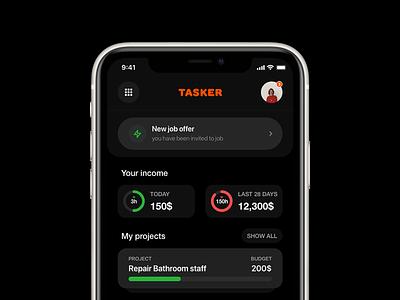 Tasker jobs analysis company list projects freelancing freelance app app dark ui dark theme color app concept job listing ux ui