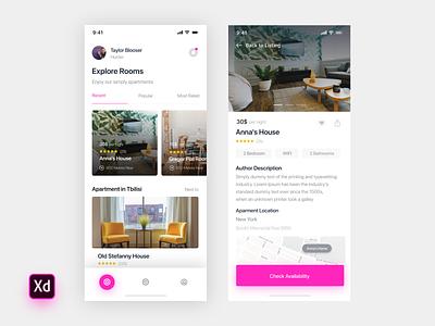 Apartments App dribbble dribbble invite invite2 design xd adobe application apartment app concept listings app ui