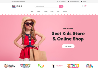Kidol - Kids Toys Store eCommerce HTML Template baby store web kids shop bootstrap kids store kids clothing children fashion