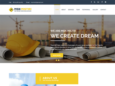 Msn Mistiri - Construction Bootstrap Template plumbe modern industry flat design creative corporate contractor constructor construction